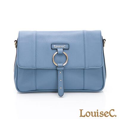 LouiseC. 義大利牛皮經典方型斜背包-藍色-03C01-0056A09