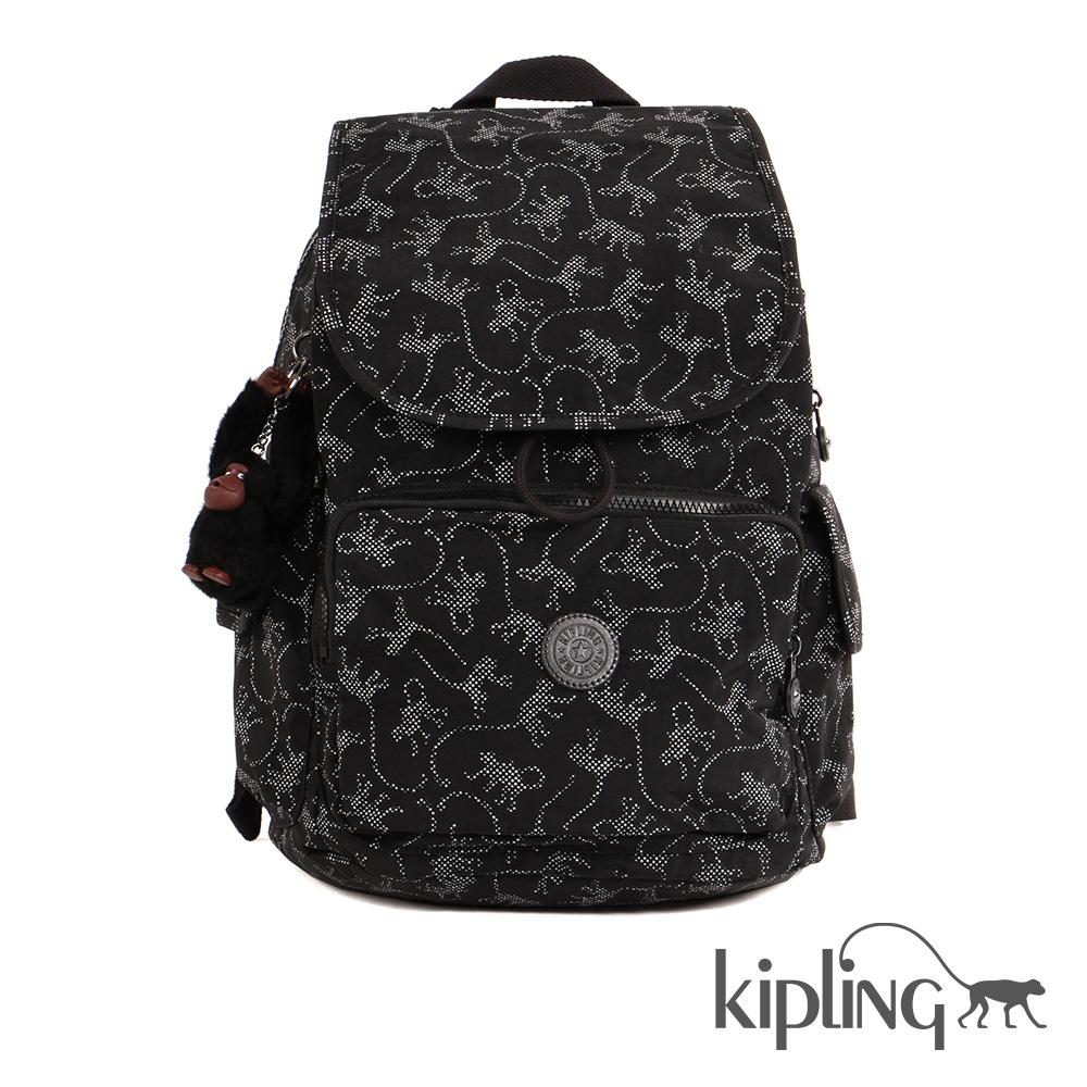 Kipling後背包經典猴紋編織印花-大