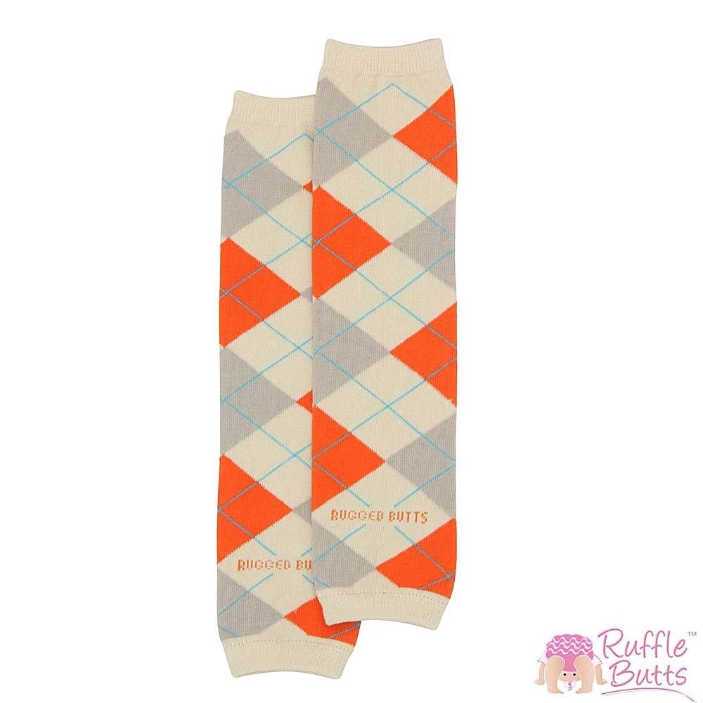 RuffleButts 小男童米白配橘色菱格紋襪套