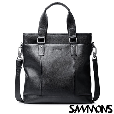 SAMMONS-真皮迪克司商務斜挎包-經典黑