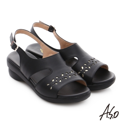 A.S.O 趣踏輕 金箔牛皮工字環釦涼拖鞋 黑色