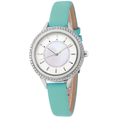 MANGO 閃耀時光晶鑽時尚腕錶-綠/34mm