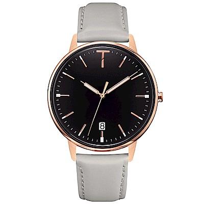 TYLOR 簡約質感皮革手錶-黑X玫瑰金框/38mm