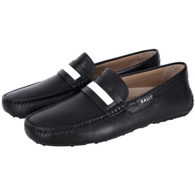 BALLY DRACON 黑白條紋飾牛皮樂福鞋(黑色)