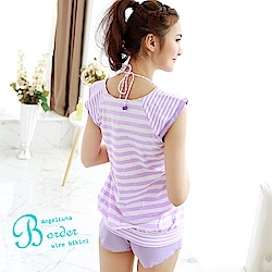 【AngelLuna日本泳裝】簡約條紋四件式比基尼泳衣-V領紫色