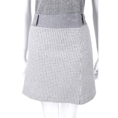 ALLUDE 淺灰色千鳥紋羊毛及膝裙(70%LANA)