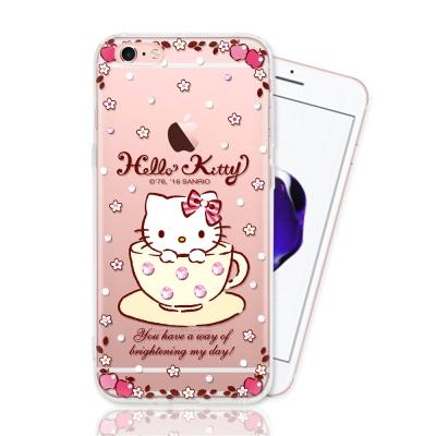 iphone 6S 三麗鷗正版授權 HELLO KITTY彩繪空壓手機鑽殼-咖啡...