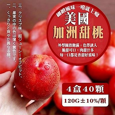 【天天果園】美國加州甜桃(每顆120g/每盒10顆) x4盒