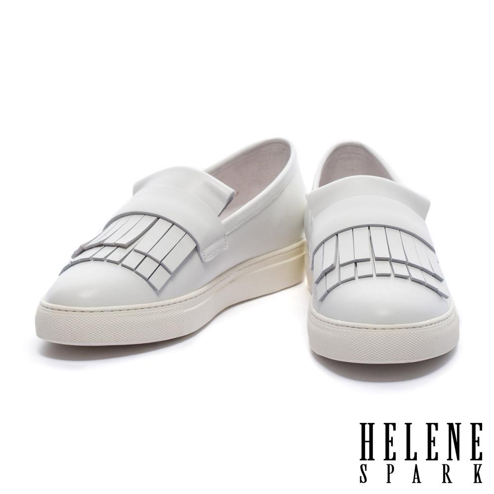 休閒鞋 HELENE SPARK 清新甜美雙層流蘇全真皮厚底休閒鞋-白