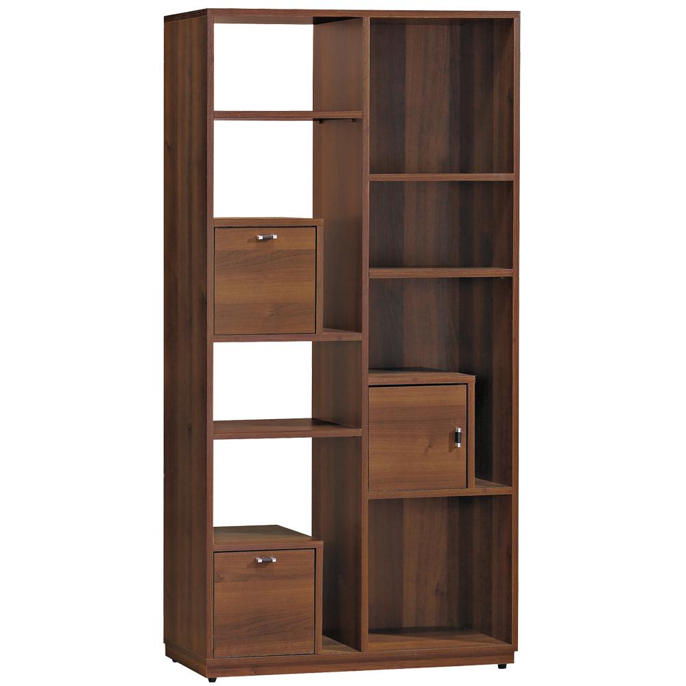 愛比家具 品杉淺胡桃2.6尺造型高書櫃