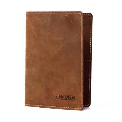 GUBINTU      GT1719BR牛皮復古護照登機卡皮夾  咖啡色