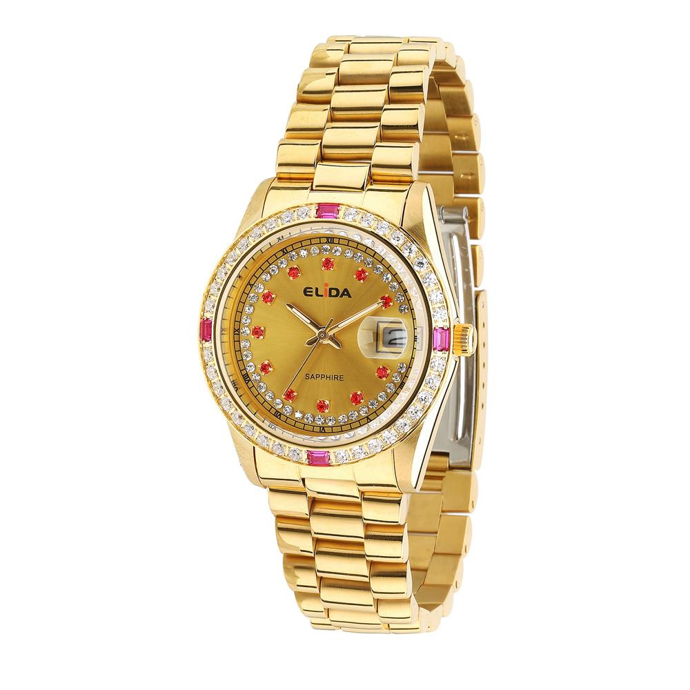 Elida 晶鑽時尚腕錶-金/36mm @ Y!購物