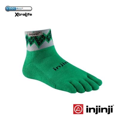 【Injinji】TRAIL野跑避震吸排五趾短襪-鑽紋綠