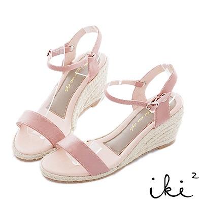 iki2 夏日知性 一字型麻編楔型跟鞋-粉