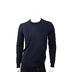 TRUSSARDI 撞色織紋領細節皮革標籤深藍色針織羊毛衫