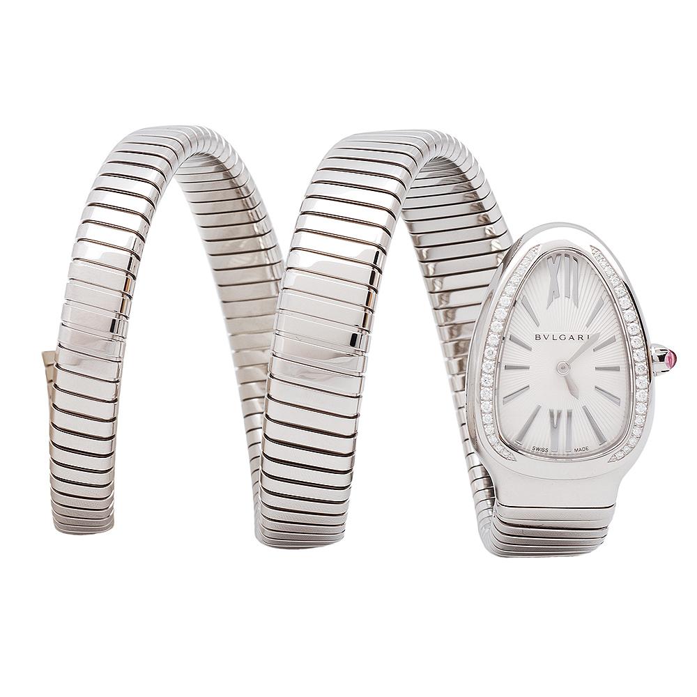 BVLGARI Serpenti 系列蛇與Tubogas雙環手鐲腕錶-銀/20mm