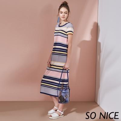 SO NICE配色條紋針織長洋裝
