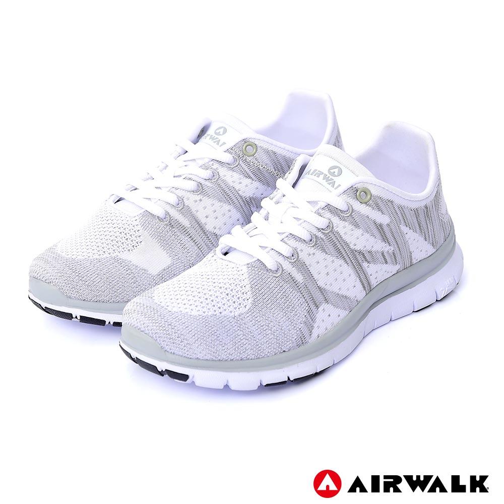 【美國 AIRWALK】幾何線條編織慢跑鞋-白
