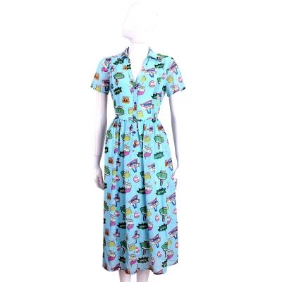 BLUGIRL-FOLIES 水藍色繽紛圖樣印花短袖洋裝