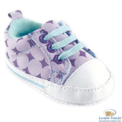 Luvable Friends 水藍薰衣草方塊止滑嬰兒鞋學步鞋休閒鞋