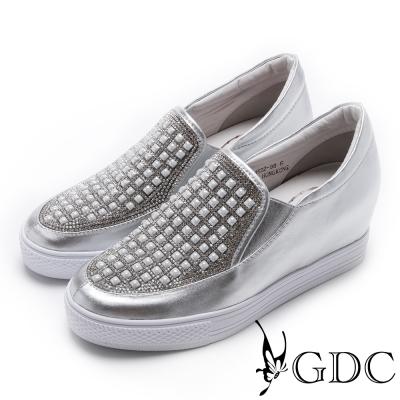 GDC-真皮滿版水鑽厚底休閒鞋-銀色