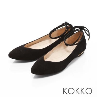 KOKKO-復古優雅V口綁帶真皮平底鞋-絲絨黑