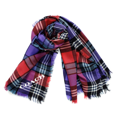 COACH紫藍紅黑拼色格紋純羊毛方型圍巾(112x112)COACH