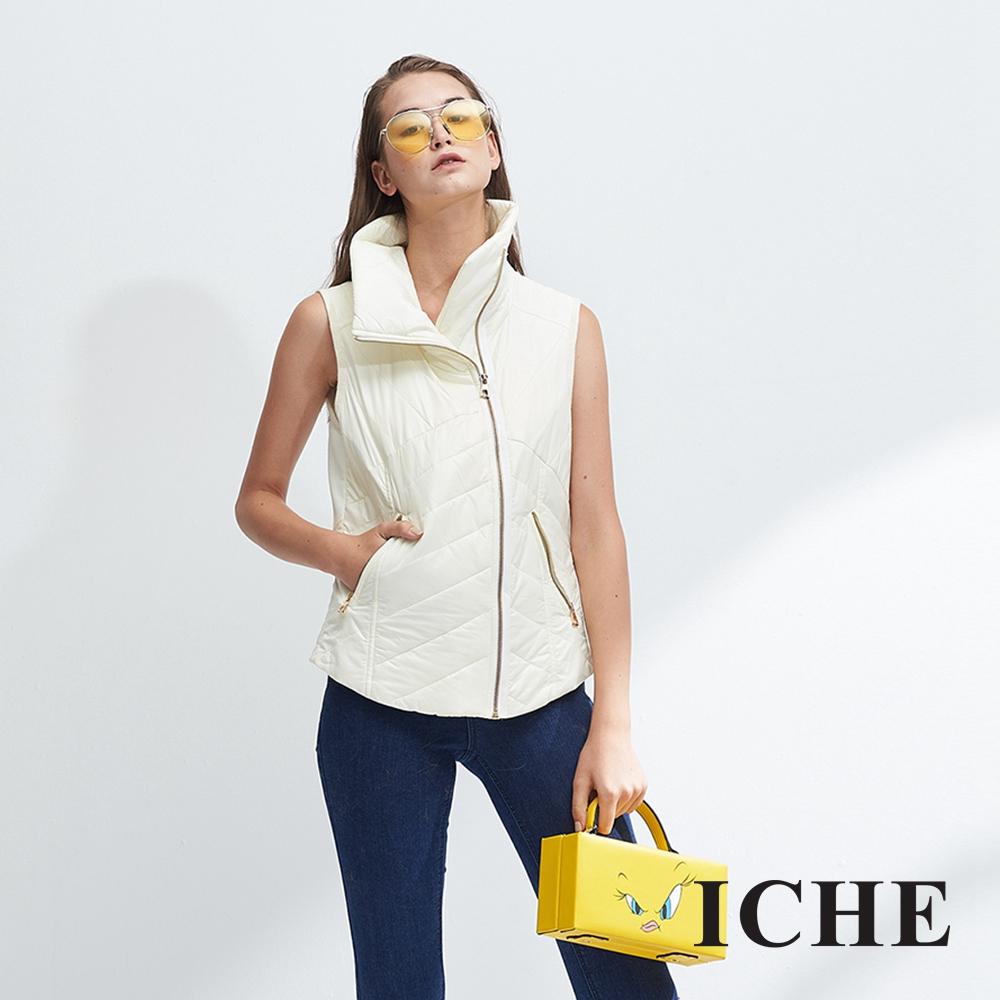 ICHE衣哲 暖時尚高領時尚印花拼貼拉鍊保暖造型背心-動態show
