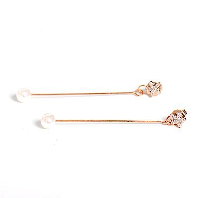 微醺禮物 正韓 鍍K金銀針 鋯石小花朵 垂墜 後耳扣 長珍珠 細緻款 耳針 耳環