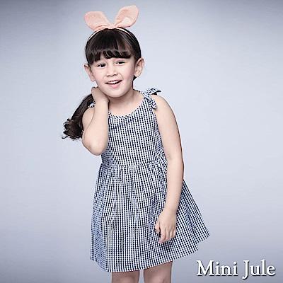 Mini Jule 童裝-洋裝 格紋蝴蝶結後拉鍊背心洋裝(藍)