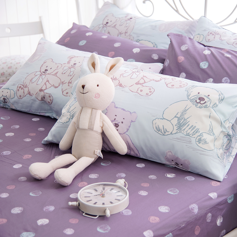 OLIVIA   寶貝熊 藍   單人床包枕套兩件組