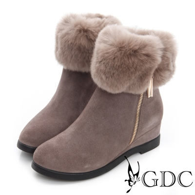 GDC真毛-毛毛環繞拉鍊楔型真皮中筒雪靴-豆沙色