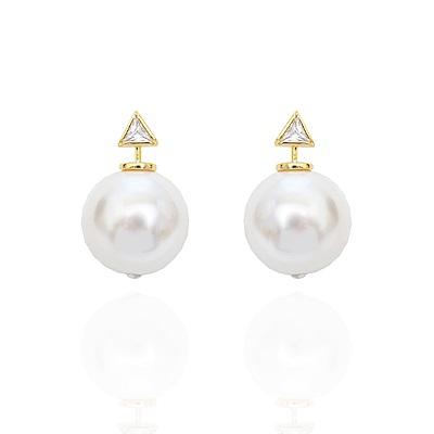 微醺禮物 耳環 鍍K金 三角鋯石 超大珍珠耳扣 耳針