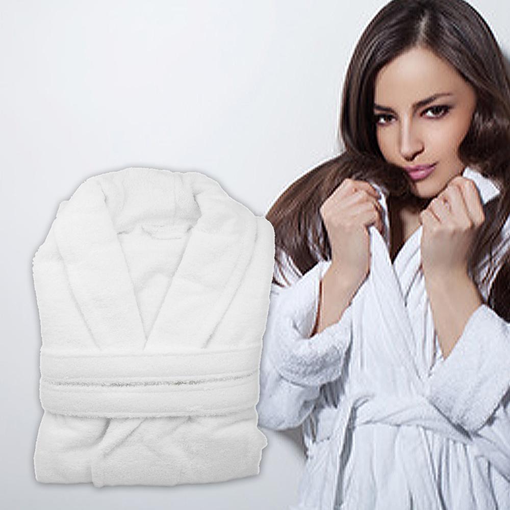 法式寢飾花季 純品良織-五星飯店款100%純棉舒柔保暖歐式浴袍x2件組