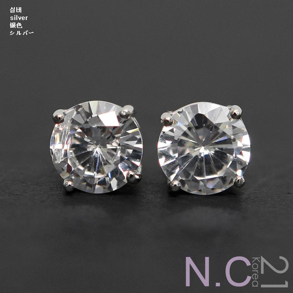 N.C21-正韓 都會時尚閃亮水晶鑽耳環 (銀色)