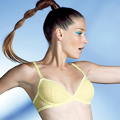 思薇爾 PANS BRA 親密系列C-D罩無襯蕾絲內衣(鵝黃色)