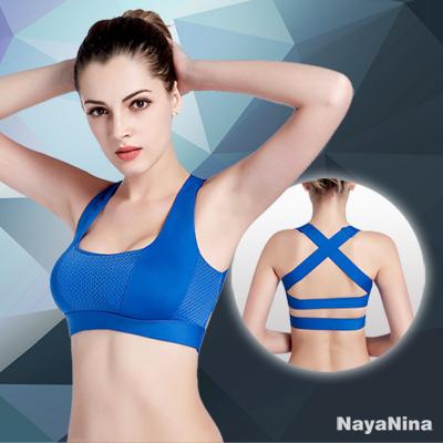 運動內衣 透氣網眼交叉美背無鋼圈運動內衣S~L(藍) Naya Nina