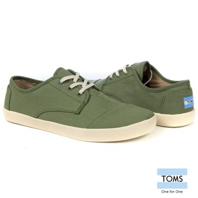 TOMS 簡約織紋帆布休閒鞋-男款(橄欖綠)