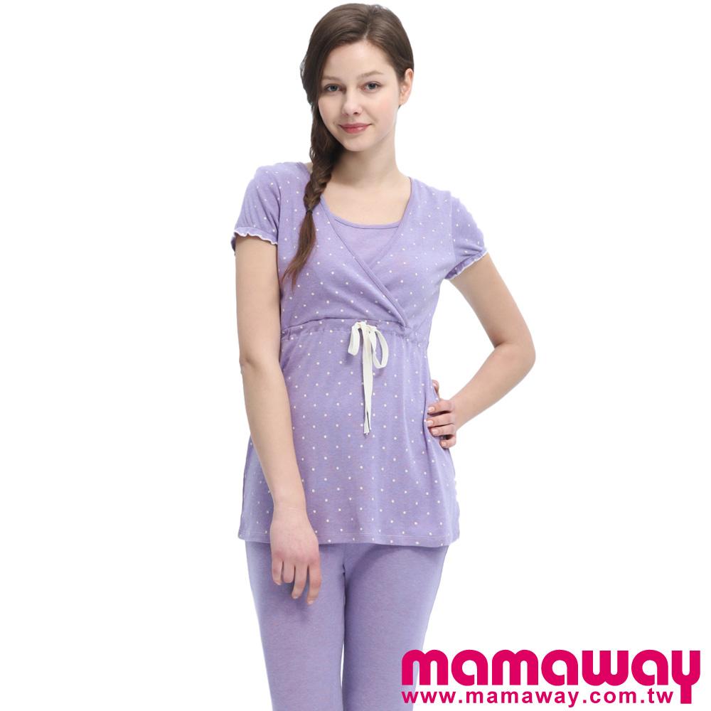 Mamaway 素雅印點綁帶孕哺居家服組(共二色) product image 1