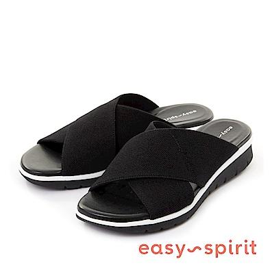 Easy Spirit--輕量交叉彈性布料魚口厚底涼拖鞋-個性黑