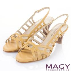 MAGY  皮革線條簍空木紋高跟涼鞋