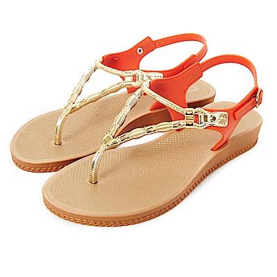 GRENDHA 金屬風人字帶楔型涼鞋-橘色