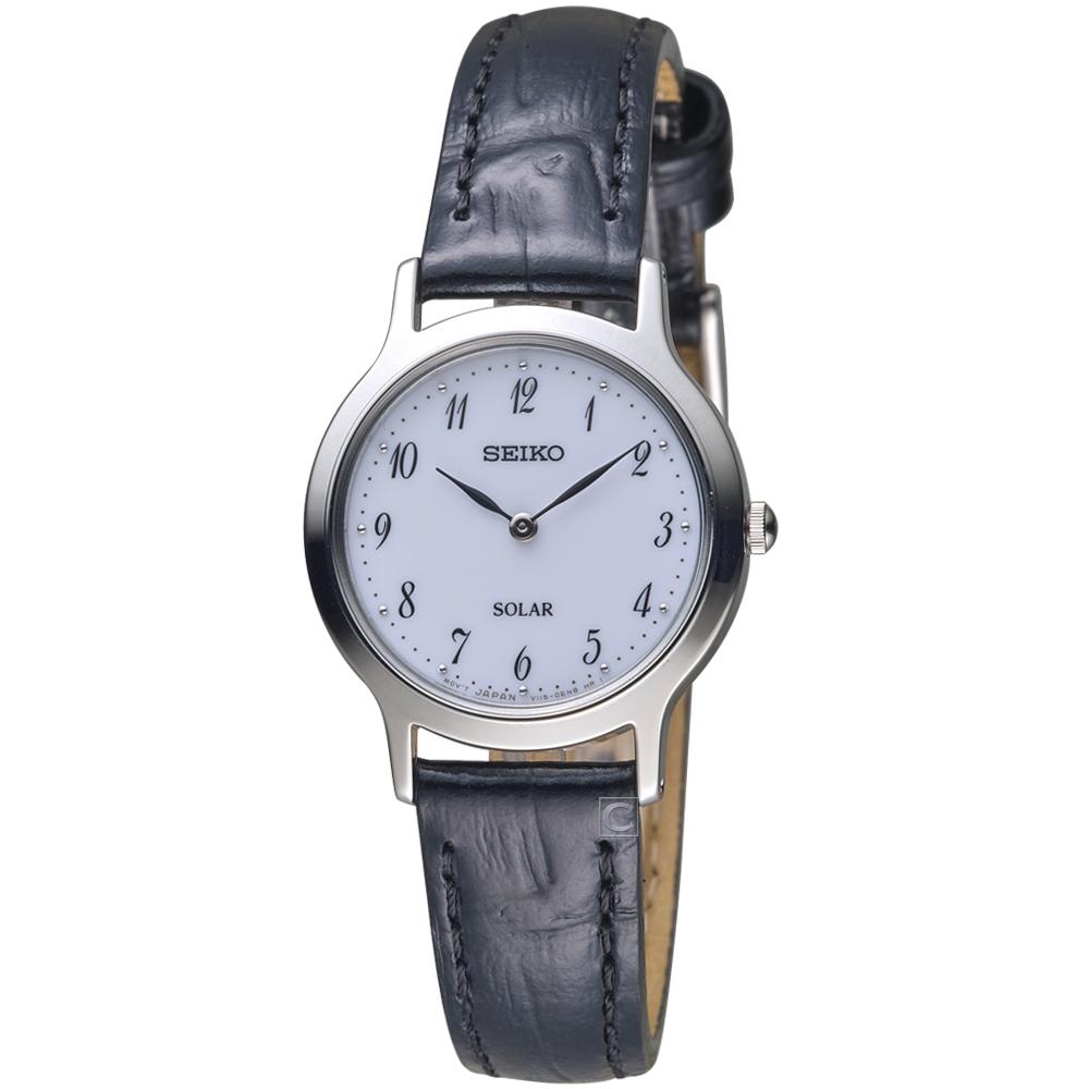 SEIKO精工簡約經典時尚太陽能腕錶( V115-0BS0W SUP369P1)-27mm