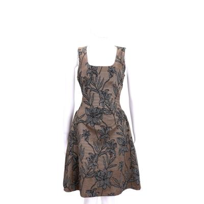 PINKO 咖啡色花朵圖案方領無袖洋裝