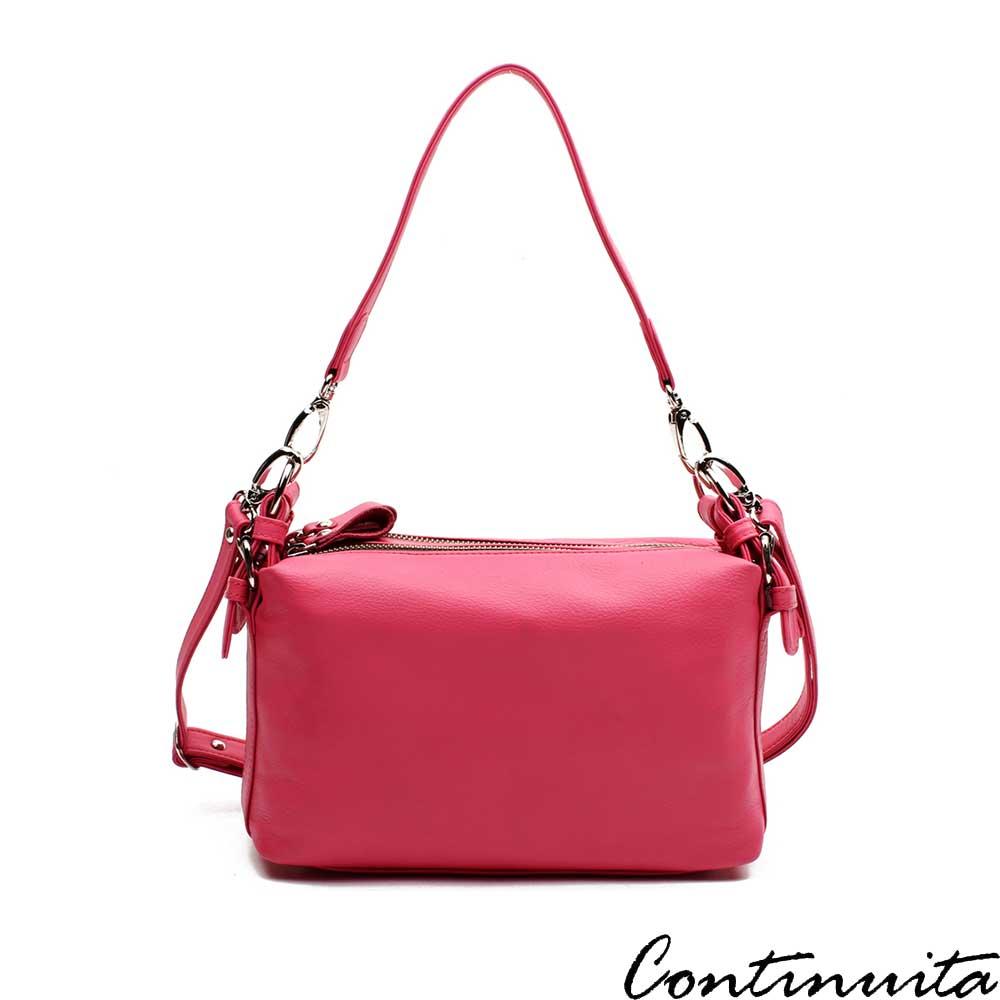 Continuita 康緹尼 頭層牛皮日本雙拉鍊小方軟提肩包-桃紅色