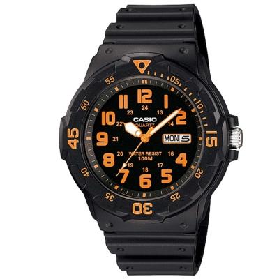 CASIO 潛水風DIVER LOOK指針錶(MRW-200H-4B)-黑/橘刻度/44.6mm