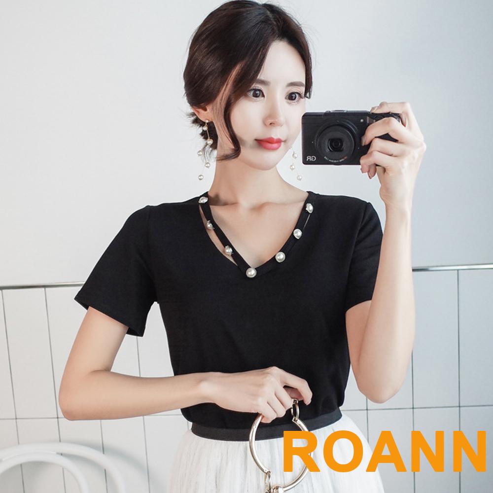 純色釘珠V領短袖T恤 (共三色)-ROANN