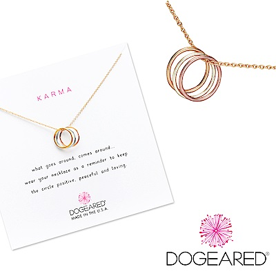 Dogeared 許願金項鍊 三色金圈Triple Karma Necklace附原廠禮盒