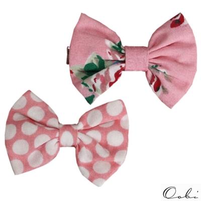 Oobi 粉紅碎花大圓白點蝴蝶結髮夾兩入組
