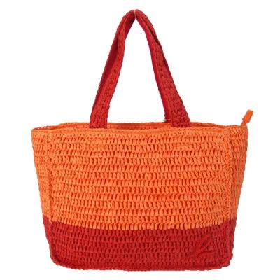 agnes b. 小b亮片雙色藤編手提包-橘紅
